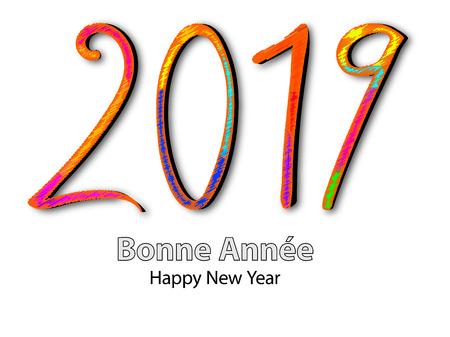 Gelukkig nieuw jaar 2019 vectorillustratie op kleurrijke achtergrond. Stock Illustratie