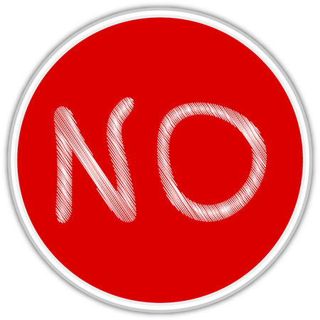 Text No on red background  Vector illustration.