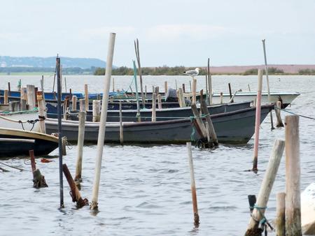 Marsh with boats Фото со стока
