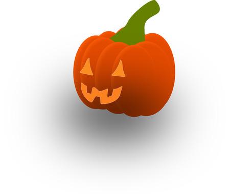 Halloween pumpkin on a white background with shadow Stock Illustratie