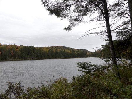 Mountain landscape in autumn with lake view