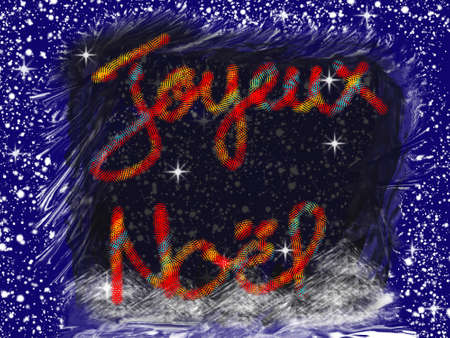 Christmas text on blue and black background Stockfoto