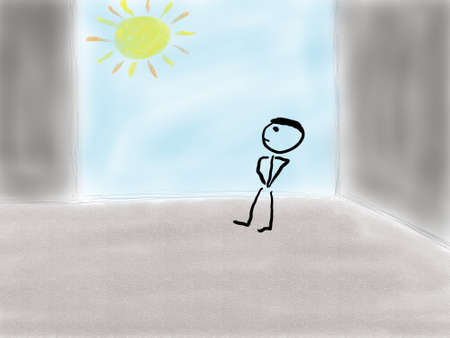 A person in a room looking outside