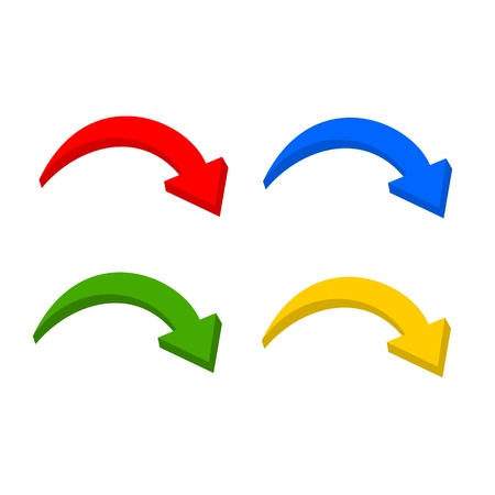 circular arrow: Multicolor 3D set arrow Illustration