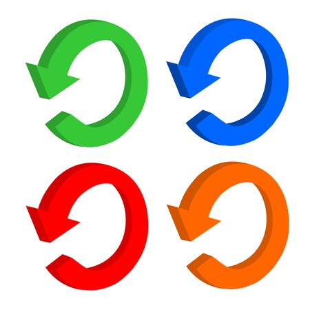 3D set arrow circular or recycling Vector