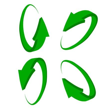 arrow circle: set 3D green arrow Illustration