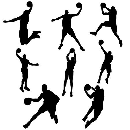 set basketball player in action with ball Vector
