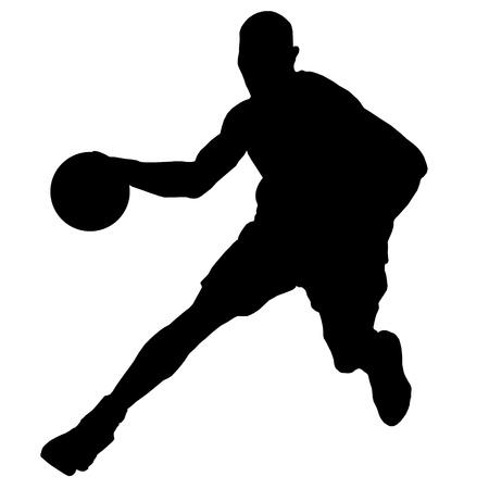 dribbling: basketball player with ball