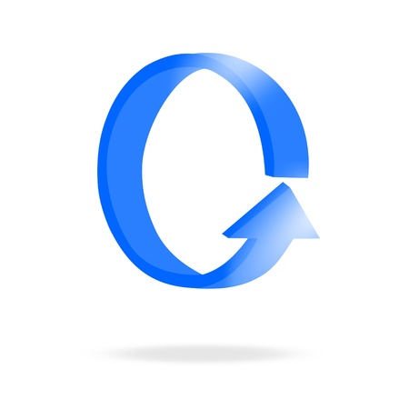 3d circular blue arrow or recycling and bright Vector
