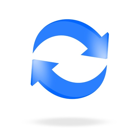 3d blue arrow recycling and bright Vector