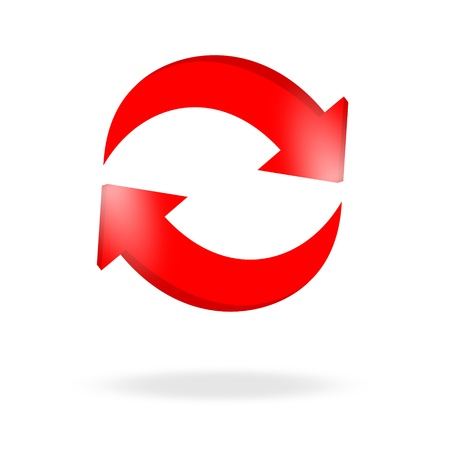 3d red arrow recycling and bright