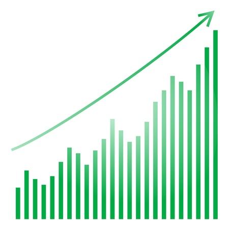 groene staafdiagram en helder Stock Illustratie