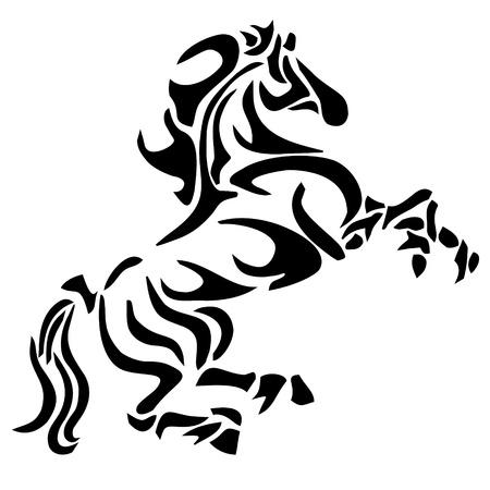 tribal tattoo: tribal horse tattoo Illustration