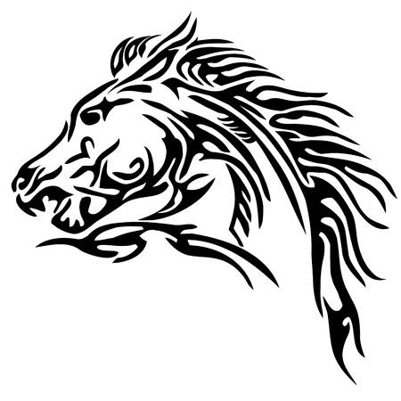 herbivorous animals: tribal horse tattoo Illustration