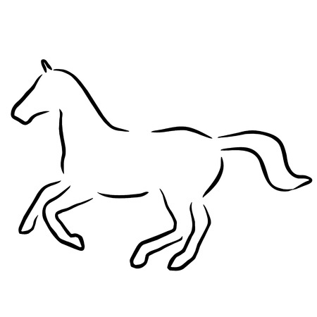 herbivorous: horse black line Illustration