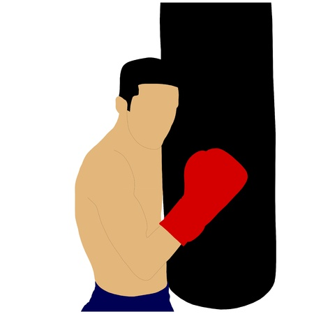 boxer in front of a punching bag Vector