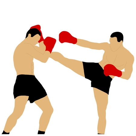 two boxers fighting with high kick