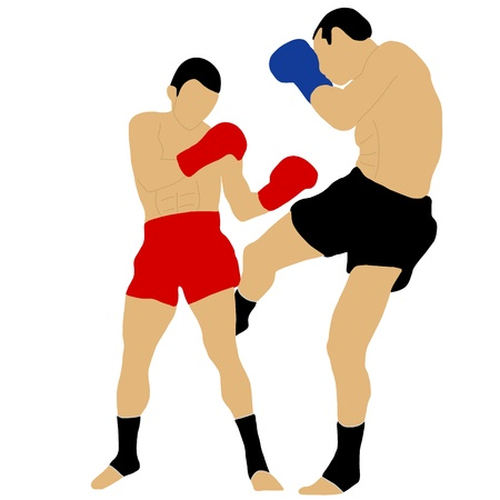 two boxers fighting with low kick