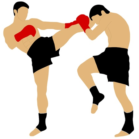 높은 킥으로 싸우는 두 권투 선수