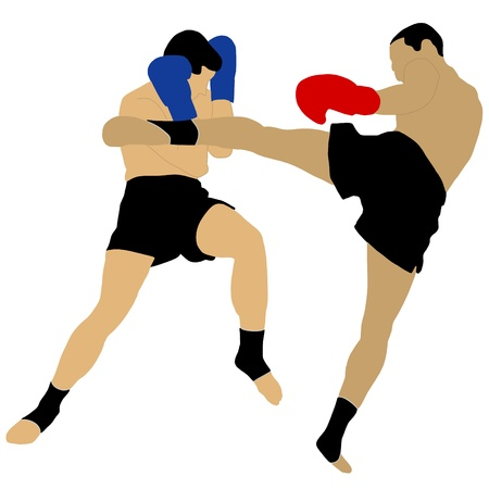 kick boxing: two boxers fighting with high kick
