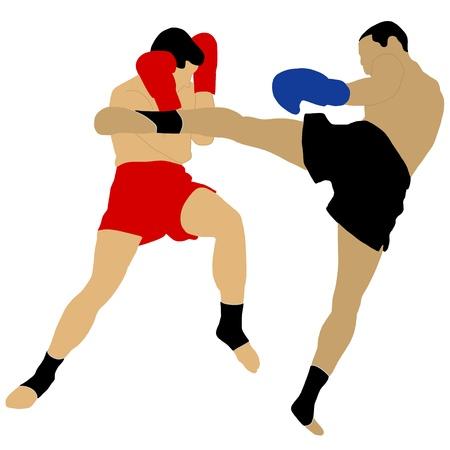 twee boksers vechten met hoge trap