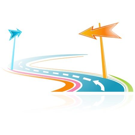 signaling: colorful illustration of a virtual road Illustration