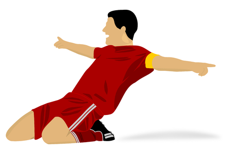 happy soccer player celebrating a goal Vector