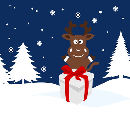 christmas illustration of a deer in the snow Vector