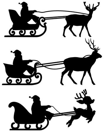 christmas costume: santa s sleigh with reindeer shadow Illustration