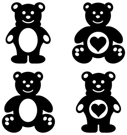 shape cub: a series of teddy plush shadow Illustration