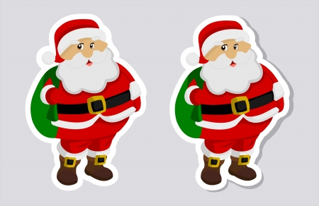 a sticker santa claus with and without shadow Vector