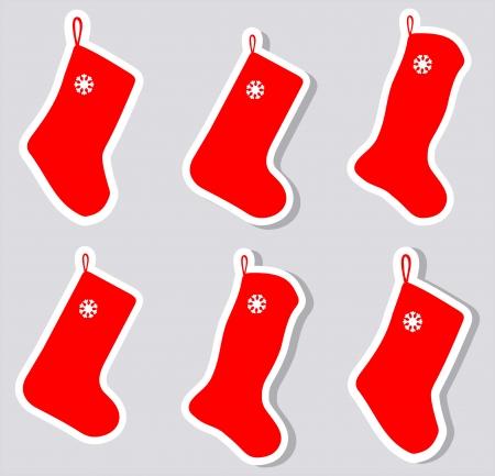 christmas sock: un adesivo calza di Natale con e senza ombra
