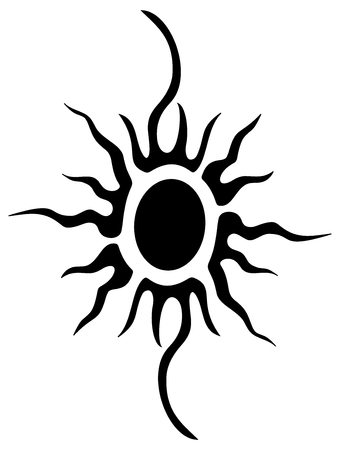 rebirth: tattoo of a tribal sun Illustration