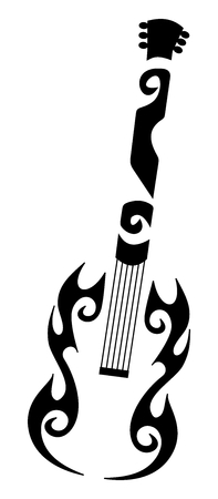 tribal tattoo of a guitar Vector