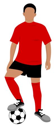footballer with a ball to foot Illusztráció