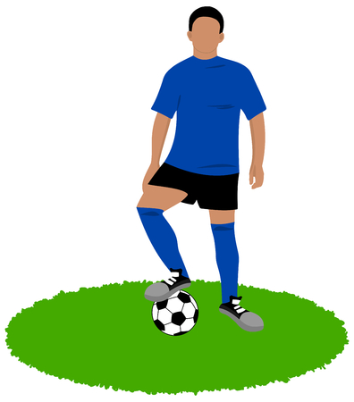 footballer with a ball to foot on grass