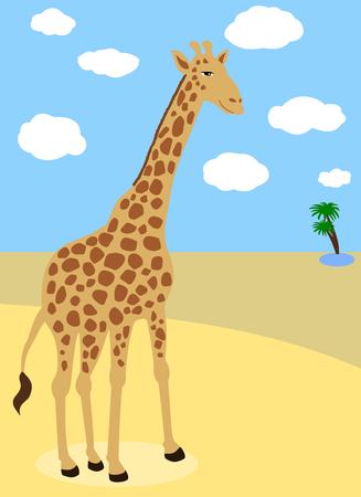 mirage: giraffe in the desert Illustration