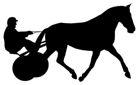 Een jockey op zijn paard tijdens een paardenrace Stock Illustratie