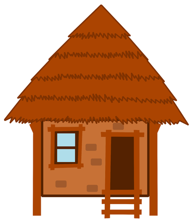 a hut made in wood and wallow and straw Vector