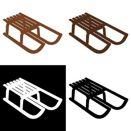 luge: sledges of different shades Illustration