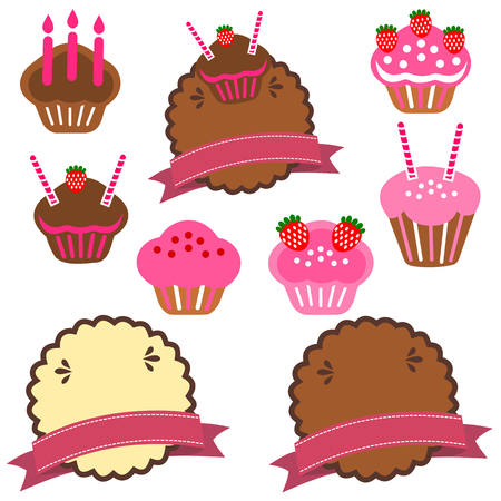 a collection of pastry cake Vector