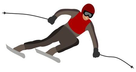 skier taking a turn Vector