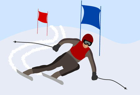 skier taking a turn in a race Vector