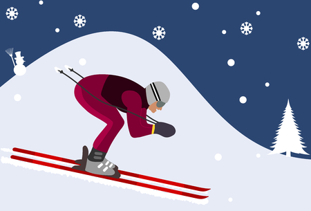 downhill skier in the mountains Vector