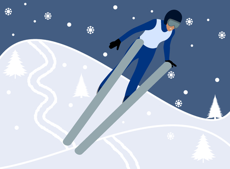 skier doing ski jumping in the mountain Vector