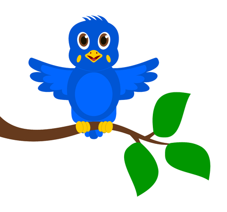 fledgeling: exotic blue bird on a branch Illustration
