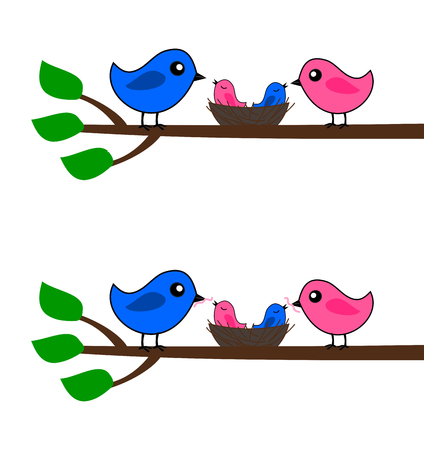 fledgeling: a family of birds Illustration