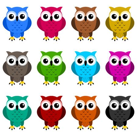 kleurrijke uilen