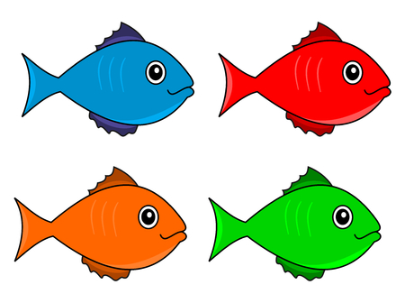 several fish color Vector