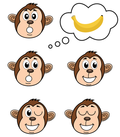 a monkey with several poses Vector